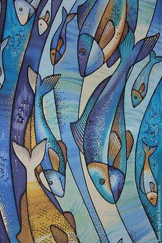 """Шарфы и шарфики ручной работы. Ярмарка Мастеров - ручная работа. Купить батик шарф """"Рыбы"""". Handmade. Синий, натуральный шелк"""