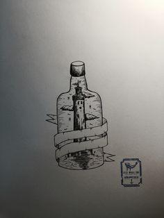 Vintage Bottle Tattoo Design From Blue Whale Ink Design by _park_tae_ Work In Korea, Seoul, Hongdae Kakao: taemin0509 Insta: _park_tae_ Email: hopetaemin@naver.com Phone: 010.9922.2511 #Bluewhaleink
