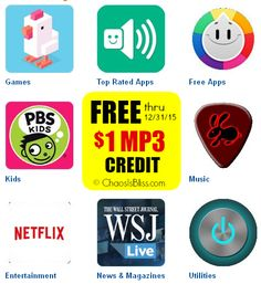 Score a Free Amazon MP3 $1 credit when you purchase select Android apps, all year long.