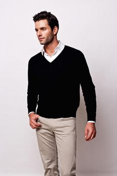 Plain Black V Neck Sweater, $91.00
