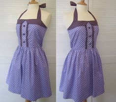 NEW Retro Dress MEDIUM SIZE white polka dots on a by RosieAnnShop, £35.00