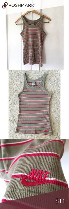 Nike Olive Green and Pink Stripe Racerback Tank Super cute Nike tank in an olive green/hot pink stripe pattern. Great for working out or just hanging out! Nike Tops Tank Tops