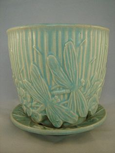 VINTAGE L-A-R-G-E McCOY MATTE AQUA DRAGON FLY FLOWER POT PLANTER HARD-TO-FIND!!!
