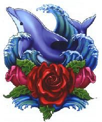 Dolphin With Roses Cross Stitch Pattern