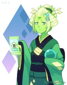 DAV-19:When I drew random sketches with Peridot, her triangular hairstyle reminded me traditional Japanese hairstyle o.o