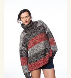 Cashmere turtleneck sweater ALEXIS colour multi from MURIÉE.com - SHOP HERE: http://www.muriee.com/chunky-cashmere-striped-turtleneck-sweater-alexis-multicolour.html#.WARwQph95Bw