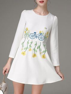 Shop Mini Dresses - White Floral Long Sleeve Embroidered A-line Mini Dress online. Discover unique designers fashion at StyleWe.com.