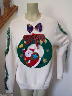Ugly Christmas Sweater Flying Santa Wreath Chaps Large Bow Tie Garland #Chaps #Crewneck