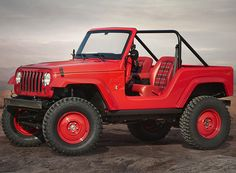 a big red take on the classic jeep CJ-5, this wrangler-based concept vehicle mixes the spirit of 1950's americana with functional simplicity and a tartan interior.