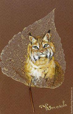 """""""Рысь"""" картина на скелетированном листе - рыжий,коричневый,бежевый,животные"""