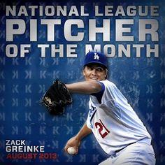 """National League Pitcher of the Month, Zack Greinke! Dodgers Fan, Dodgers Baseball, Baseball Players, Baseball Cards, Dodger Blue, Blue Bloods, National League, Los Angeles Dodgers, Boys"