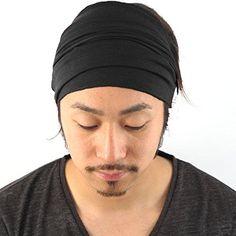 Mens Elastic Bandana Headband Japanese Long Hair Dreads Head wrap Black a7b19722f80