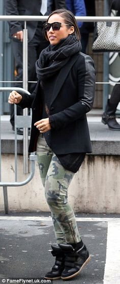 15cfa409c378 Those look familiar  Alicia Keys channels Cheryl Cole s look as she steps  out wearing the same skintight camouflage jeans
