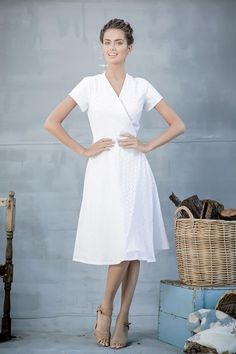 Eyelet Russel Wrap Dress from the Aussie Afternoon Collection by Shabby Apple