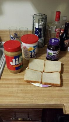 The second step is to get out your peanut butter(creamy or chunky), your jelly, again I used grape, but you can use any jelly you like, and also if you want your marshmellow fluff.