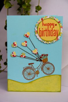 Birthday card bicycle blue with heart balloons by Petal & Pencil Paper Co.