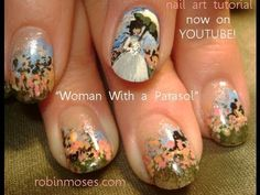 lady with a parasol claude monet fine art: robin moses nail art.....please pin this everywhere you can. someone has stolen the pic and taken my name off of it and i need your help getting this out there so others know to give credit for the hard work i do! thanks to ALL who are helping me!