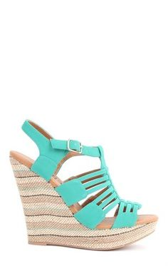 Deb Shops Open Toe Wedge Heel with Striped Canvas Heel and Cutouts on Upper $36.90