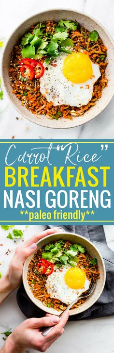 """This Quick Carrot Rice Breakfast Nasi Goreng is the perfect way to utilize those leftover veggies! A stir fried """"carrot rice"""" mixed with egg and sausage. A Indonesian style breakfast Nasi Goreng that's paleo friendly, super flavorful, and packed full of protein and veggies! Cook and serve all in 30 minutes! www.cottercrunch.com"""