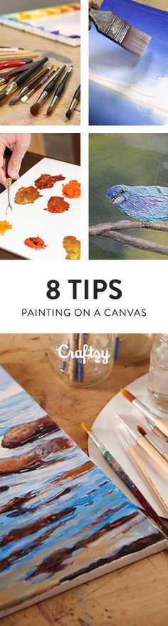 Don't let the fear of a blank canvas stifle your creative mojo! Become canvas-confident with these 8 tips for painting on canvas. @Craftsy