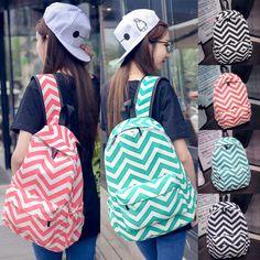 Girls Women's Canvas School Bag Unisex Chevron Pattern Backpack Satchel Rucksack…