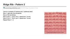 Knit Purl Stitches ■ Ridge Rib Pattern 2. Written instructions