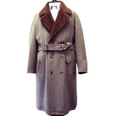 O'Connell's Greatcoat - Olive Tan Whipcord front - Full Alpaca Lining