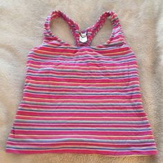 Jacques Moret Pink & Blue Striped Workout Tank Top 55% cotton 35% polyester 10% spandex Jacques Moret Tops Tank Tops