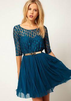 Blue Half Sleeve Lace Belt Mesh Yoke Pleated Dress - Sheinside.com