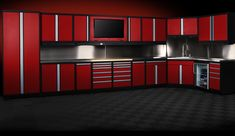 We offer nearly 100 different types and sizes of modular garage cabinets, constructed of 18-gauge steel.