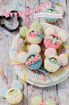 Mickey Easter~ Mickey Mouse Easter Basket Cookies by © Bakingdom, pink, blue, green, mouse ears Valentine Cookies, Easter Cookies, Easter Treats, Easter Food, Birthday Cookies, Easter Table, Christmas Cookies, Easter Eggs, Galletas Cookies