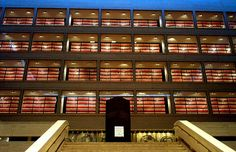 Archives of the Lyndon Baines Johnson Presidential Library and Museum in Austin, Texas; the library was designed by architect Gordon Bunshaft and features a glass enclosed view of the four story archives collection.