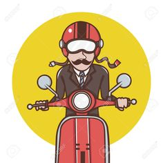 red vespa: Man with red helmet riding a red scooter