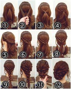 先程の投稿スタイルの作り方です! アップアレンジ ① トップを結びます。 ② その両側から髪をとり… ③ 後ろで結びます。 ④ それをくるりんぱします。 ⑤ フロントからサイドにかけてロープ編み込みにします。ロープ編みの要領でねじりながら髪を拾い足していきます。仮留めしておきます。 ⑥ 反対側も同様にロープ編み込みをして両側を嬉しいです!合わせゴムでまとめます。 ⑦ それをくるりんぱします。 ⑧ 残っている髪を3つに分けます。 ⑨ それを三つ編みに。毛先は折り返してゴムで留めます。 ⑩ 少しずつ毛束をつまみ引き出して柔らかさを出しておきます。 ⑪ 三つ編みを三角に折り返すようにしてピンでしっかり留めます。 ⑫ 出来上がりです! #横浜美容室#ヘアサロン#ヘアエステ#美容室#ヘアアレンジ#ヘアアレンジ解説#ヘアアレンジプロセス#簡単アレンジ#まとめ髪#ヘアスタイル#アップアレンジ#くるりんぱ#ロープ編み#三つ編み#横浜#石川町#元町#nest