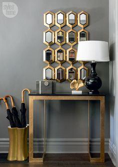 SMALL BRASS CONSOLE TABLE |  Interior Design Inspiration| bocadolobo.com/ #consoletableideas #modernconsole