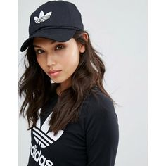 adidas Originals Trefoil Cap (€11) ❤ liked on Polyvore featuring accessories, hats, black, adidas, embroidered caps, crown hat, adidas cap and adidas hat