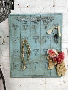 A gorgeous French farmhouse hotel key holder. Makes a great jewelry display too!