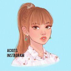Aciots  Lisa, BlackPink Kpop Drawings, Art Drawings Sketches, Cute Drawings, Kawaii Drawings, Blackpink Lisa, Fan Art, Character Art, Character Design, Black Pink