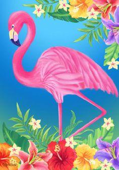 Flamingo and tropical florals