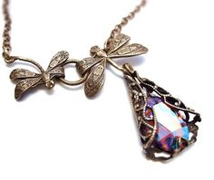 Mother daughter dragonfly necklace with volcano glass by Federikas, $45.00