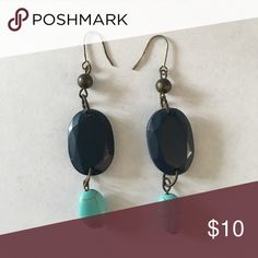 Navy Blue and Turquoise Drop Earrings Pretty two tone Dangly Earrings! Chico's Jewelry Earrings