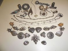 Sterling silver lot scrap or not 1100 grams Taxco Emma,Lopez vintage Beau etc #various