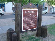 Historic Marker on the Plaza in La Mesilla in New Mexico