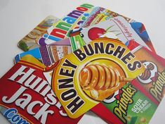 "Postcards from Cereal Boxes.  How fun!  Kids love getting mail and these can be personalized ""Hungry Jack"", ""Smooth"" and ""Honey Bunches""."