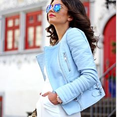 ZARA Basic Blue Pastel Faux Leather Biker Jacket!! Blogger/magazine fav!! I am tall and it looks a little silly on my larger frame but it's absolutely stunning!! Super great quality, thick and comfy and the most awesome shade of pastel blue!! Never worn. Zara Jackets & Coats