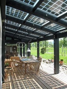 (patio cover.)..How about this method to incorporate solar by using it atop a patio cover for shade?