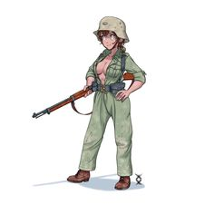 Anime Military, Military Art, Fantasy Comics, Anime Fantasy, Cool Anime Girl, Anime Art Girl, Fantasy Characters, Anime Characters, Soldier Drawing