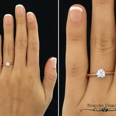 Soft and Smooth with a little bit of Sass, this diamond solitaire engagement ring is set in 18k rose gold. Is rose gold too bold for you? Gold Diamond Wedding Band, Rose Gold Engagement, Engagement Ring Settings, Solitaire Engagement, Vintage Engagement Rings, Wedding Bands, White Gold Rings, Dream Ring, Princess Cut