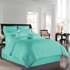 Have to have this bedding, its my accent color (: 500 Damask Comforter Sets in Aqua - BedBathandBeyond.com