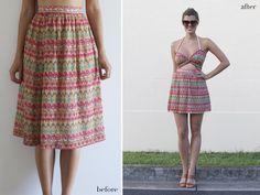 Turn a dowdy skirt into a sweet cutout dress.